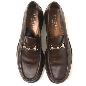 Gucci Men's Brown Leather Horsebit Loafers